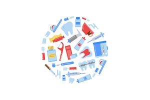 Vector flat style teeth hygiene icons circle concept illustration