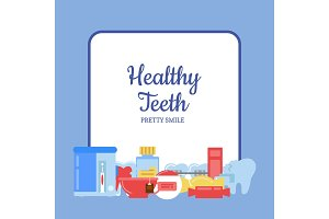 Vector flat style teeth hygiene icons