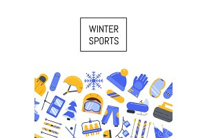 Vector winter sports equipment and attributes icons background