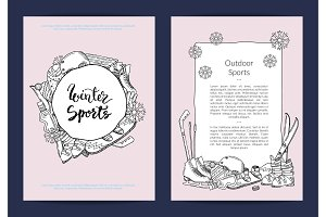 Vector card or flyer template for sports store or winter