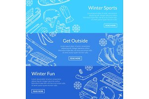 Vector hand drawn winter sports equipment