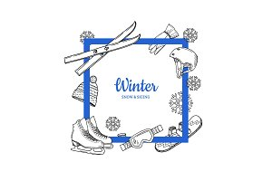 Vector frame with place for text hand drawn winter sports