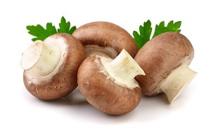 Royal Brown champignon with parsley leaf isolated on white background