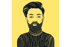 Hipster man with beard and mustache. Hand drawn vetor illustration.