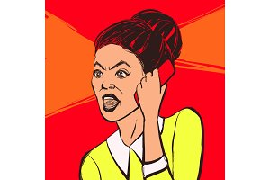 Angry brunette woman with mobile phone. Vector illustration.