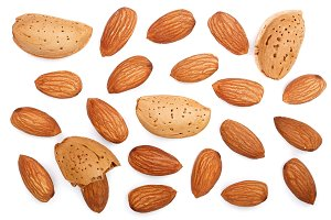 almonds isolated on white background. Top view. Flat lay pattern