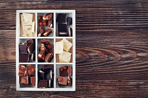 Assorted chocolates in a white box