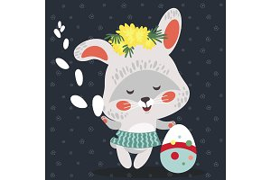 Easter baby bunny in wreath of dandelions holding big decorated egg and willow branch, isolated whire rabbit with ears hunting eggs vector illustration card
