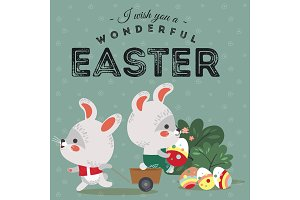 Easter bunny pulls a cart with cute white rabbit holding decorated eggs, happy holiday hunter vector greeting card, spring hare isolated illustration