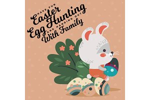 Easter baby bunny in overalls holding big decorated egg, isolated whire rabbit with ears hunting eggs sitting under a green bush vector illustration card
