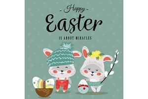 Easter baby bunny in wreath of dandelions holding big decorated egg and willow branch, isolated whire rabbit with ears hunting eggs, basket vector illustration card