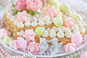 delicate sponge cake and decor