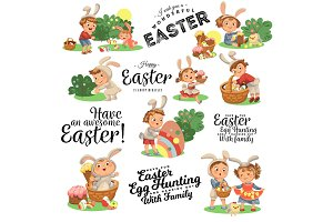 Set of Happy kids in bunny costume with ears hunting easter eggs, childrens play rabbits on spring holiday, decorative basket under bush vector illustration