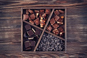 Assorted chocolates in a wooden box