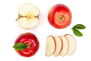 red apples with slices and leaves isolated on white background top view. Set or collection. Flat lay pattern