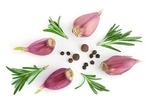 garlic with rosemary and peppercorn isolated on white background. Top view. Flat lay pattern
