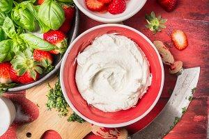 Cream cheese and strawberries
