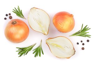 onions with rosemary and peppercorns isolated on a white background. Top view. Flat lay