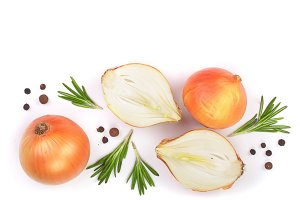 onions with rosemary and peppercorns isolated on white background with copy space for your text. Top view. Flat lay