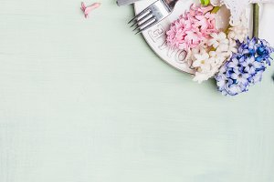 Easter  table setting layout