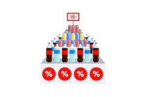 Supermarket Sale on Water Vector Illustration