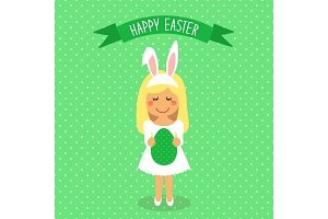 Cute Easter card with funny cartoon character of girl with Egg in hands