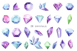 watercolor crystals