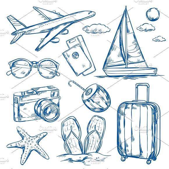 Travel Elements Sketch Set