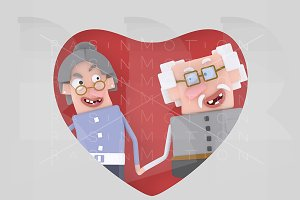 Older couple posing into red heart.