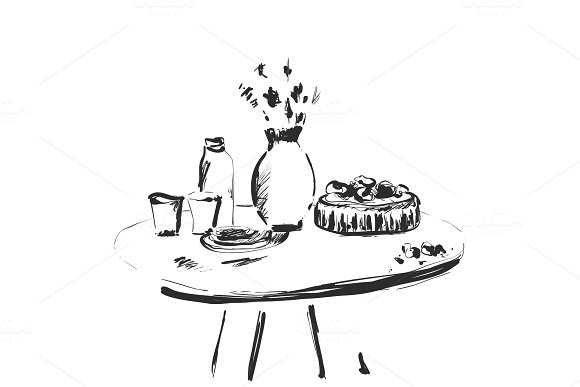 Table Setting Set Weekend Breakfast Or Dinner Hand Drawn Dishes Sketch