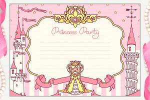 ♥ vector Princess Party invitation 1
