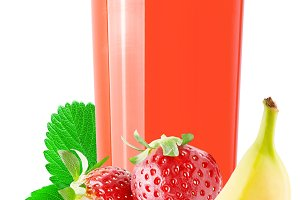 Strawberry and banana drink isolated