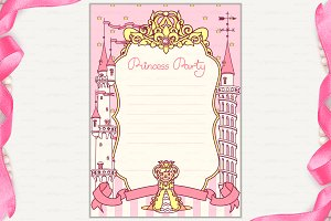 ♥ vector Princess Party invitation 2