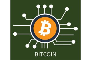 Bitcoin Cryptocurrency Poster Vector Illustration