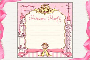 ♥ vector Princess Party invitation 3