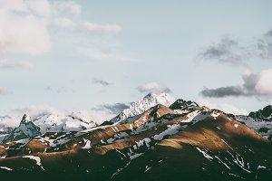 Sunset Mountains peaks Landscape