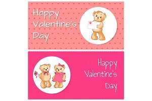 Happy Valentines Day Cards Vector Illustration