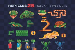 Reptile & Аmphibian pixel icons