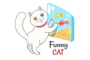 Funny White Cat Looking Aquarium with Fish Vector