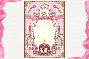 ♥ vector Royal Tea Party invitation