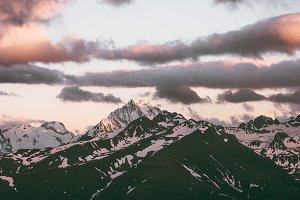 Sunset Mountains range peaks