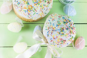 Easter cake and holiday decorations