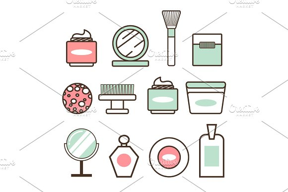 Beauty Tools And Means Minimalistic Illustrations