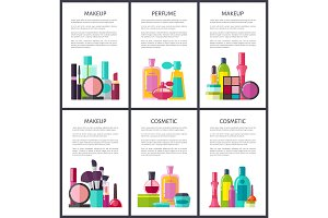 Make Up and Perfume Collection Vector Illustration
