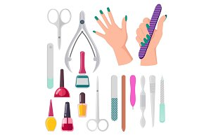 Hands and Manicure Instruments Vector Illustration
