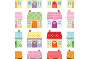 Cute houses seamless pattern on white background in scandinavian style