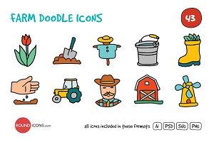 Farm Doodle Icons Set