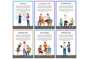 Office Teamwork and Working Tasks Promo Posters