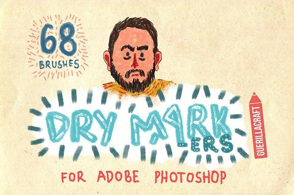 68 Dry Markers Photoshop Brushes
