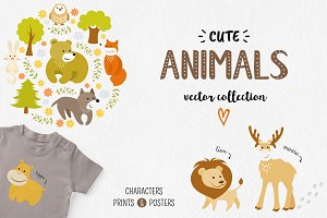 Cute Animals Vector Set